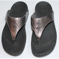 Womens Fitflop Shoes Sandals Sz 7 M Gray Shiny Embossed Pattern