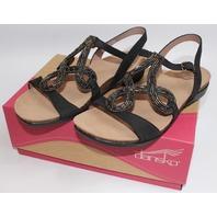 Womens Dansko Reeta Nubuck New Sz 9-9.5 Eu 40 Black Sandal