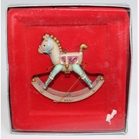 Enesco Merry Christmas Ornament in Box Past Joys Rocking Horse 1987