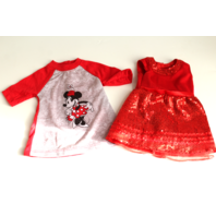 """18"""" Doll Sized Minnie Mouse Dress and Red Sequined Dress Lot"""