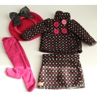"""18"""" Doll Sized Our Generation Skirt Coat Set with Hat and Tights Lot"""