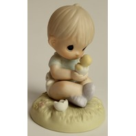 Precious Moments Figurine I Believe in Miracles Boy holding a Peep Chic 1996