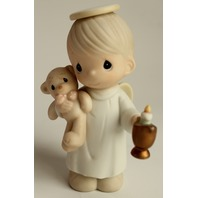 Precious Moments Figurine Lighting the Way to a Happy Holiday 1994