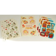 Lot of Vintage Collectible Hallmark Sticker Pages Food Romance Thanksgiving