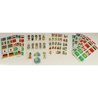 Lot of Vintage Collectible Hallmark Children of the World Stickers and Flags