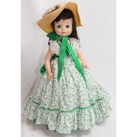 Madame Alexander Scarlett Doll Green Ditsy Flower Dress and Hat Original Outfit