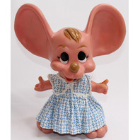 Roy Des of Fla Big Eared Mouse Bank with Blue Ditsy Dress