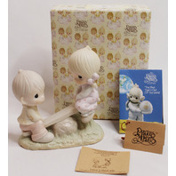 Precious Moments Figurine Love Lifted Me Boy and Girl Teeter Totter with Box