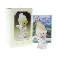 Precious Moments Figurine Jesus Loves Me Girl with Bunny Doll with Box PM