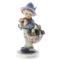 Goebel Hummel #378 TMK 5 Porcelain Figurine Easter Greetings Boy with Chick Bird