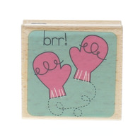 Studio G Hampton Art BRR Mittens Gloves Cold Frosty Weather Wooden Rubber Stamp