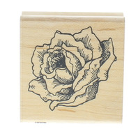 Fun Stamps Stampendous Cabbage Rose Flower Bloom Wooden Rubber Stamp