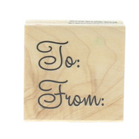 Recollections To From Gift Tag Whimsical Writing Words Wooden Rubber Stamp