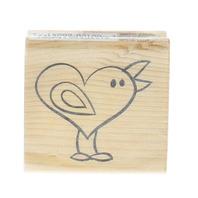 Heart Bird Craft Smart  Wooden Rubber Stamp