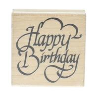 Happy Birthday Wooden Rubber Stamp
