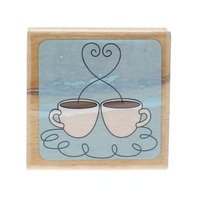 Studio G Two Coffee Mugs Cups Wooden Rubber Stamp