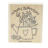 Stampin Up Happy Birthday Flower Pot Watering Can 1996 Wooden Rubber Stamp
