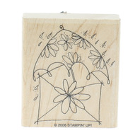Stampin Up 2006 Whimsical Envelope with Rain and Umbrella Wooden Rubber Stamp