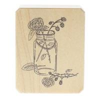 Inkadinkado Galery Vernissage Jar of Cabbage Roses Wooden Rubber Stamp