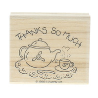 Thanks So Much Stampin Up 1996 Teapot and Cup and Saucer Wooden Rubber Stamp