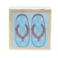 Beach Theme Sun and Sand Flip Flops Purple Sky Limited  Wooden Rubber Stamp