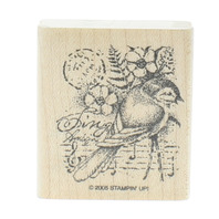 Stamping UP Romantic Bird Collage Post Mark Music Wooden Rubber Stamp