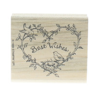 Stamping UP Best Wishes Heart Wreath with Birds and Nest Wooden Rubber Stamp