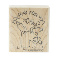 Stamping UP 1996 Horray for You Dancing Mouse Wooden Rubber Stamp