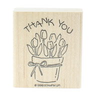 Stamping UP 1996 Thank You Tulip Flower Garden Botanical  Wooden Rubber Stamp