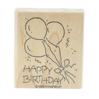 Stamping UP 1996 Happy Birthday Party Balloons Wooden Rubber Stamp