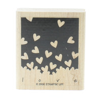Stamping UP 2006 Negative Space Heart Flutters Wooden Rubber Stamp