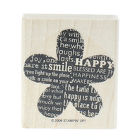 Stamping UP 2006 Negative Space Happy Smiles Words Writing Wooden Rubber Stamp