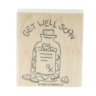Stamping UP 1996 Get Well Soon RX Medicine Pill Bottle Wooden Rubber Stamp