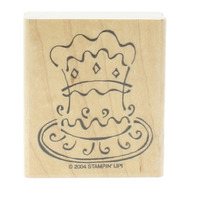 Stamping UP 2004 Happy Birthday Cake Wooden Rubber Stamp