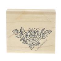 Stamping UP 1998 Rose Flower Corner Border Wooden Rubber Stamp