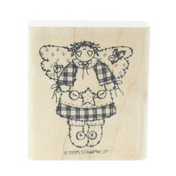Stamping UP 1995 Angel Holding a Star and Buttons Wooden Rubber Stamp