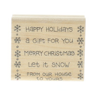 Happy Holidays Merry Christmas Let it Snow Words Writing Wooden Rubber Stamp