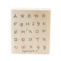 Alphabet Cursive Upper Case Letters Wooden Rubber Stamp