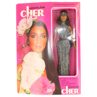 Mego Cher Doll 1976 with Growing Hair Mint in Box Long Eyelashes Silver Gown