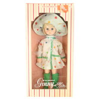 """Vogue 8"""" World of Ginny 1978 Dotted Heart Rain Coat and Hat in Original Box"""