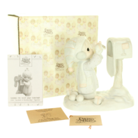 Precious Moments Figurine I'm Sending You a White Christmas in Box Mailbox
