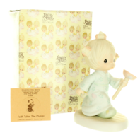 Precious Moments Figurine Faith Takes the Plunge Girl Cleaning with Original Box