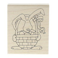Inky Antics Bunny Rabbit with Easter Basket and Eggs Wooden Rubber Stamp