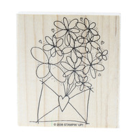 Stampin Up Envelope with Flowers Blooming Out of it Wooden Rubber Stamp