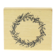 DJ Inkers Pine Wreath 049 Circle Frame Wooden Rubber Stamp