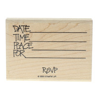 Stampin UP RSVP Party Invitation Date Time Place For Words Wooden Rubber Stamp
