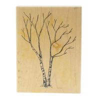 Art Impressions Birch Tree without leaves Winter Scene Wooden Rubber Stamp
