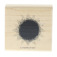 Stampin UP 1997 Bold Stipple Dotted Sun Wooden Rubber Stamp