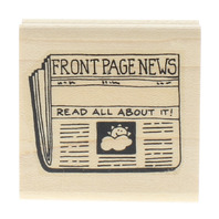 Front Page News Read All About It Wooden Rubber Stamp