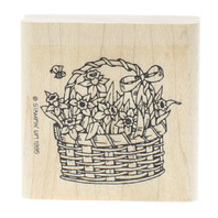 Stampin Up 1995 Basket of Flowers with a Bumble Bee Wooden Rubber Stamp